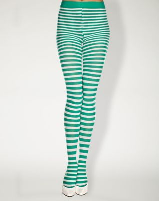 Green and White Striped Tights by Spencer