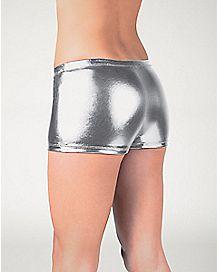 Metallic Boyshort Panties - Silver