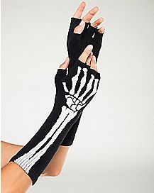 Long Printed Skeleton Fingerless Gloves