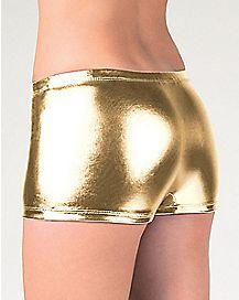 Metallic Boyshort Panties - Gold