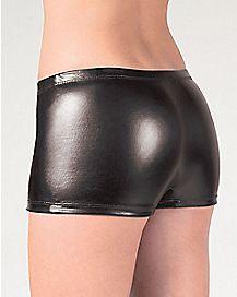 Metallic Boyshort Panties - Black