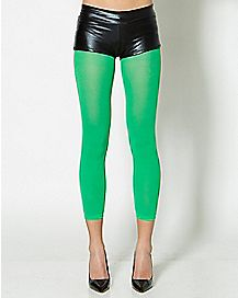 Green Opaque Footless Tights