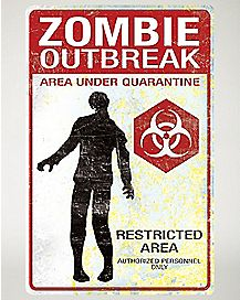 Zombie Outbreak Metal Sign- Decorations