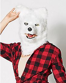 Moving Mouth White Wolf Mask