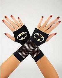 Gold Fishnet Batman Gloves - DC Comics