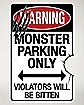 17 Inch Monster Parking Metal Sign - Decorations