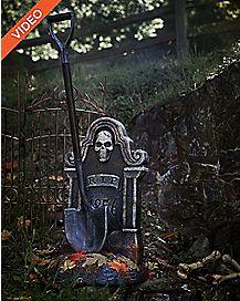 3.5 Ft Haunted Shovel Tombstone Animatronics - Decorations