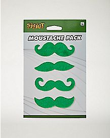 Green Moustaches 4 Pack