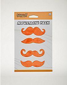4pk Orange Mustaches