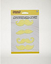4pk Yellow Mustaches