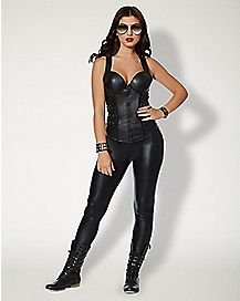 Faux Leather Side Buckle Corset
