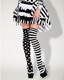 Polka Dot and Striped Thigh High Stockings