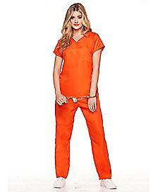 Adult Got Busted Orange Prisoner Costume