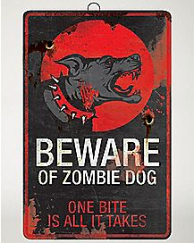 16 Inch Zombie Dog Metal Sign - Decorations