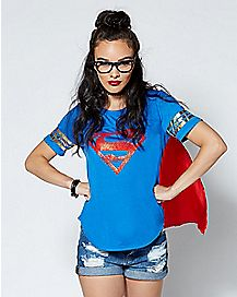 Caped Supergirl T Shirt - DC Comics