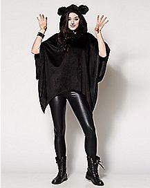 Faux Fur Black Cat Poncho