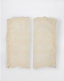 Fingerless White Lace Gloves