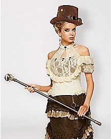 Lace Off-the-Shoulder Steampunk Shirt