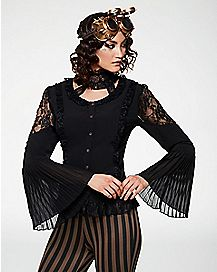 Black Long Sleeve Lace Shirt