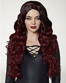 Burgundy and Black Curls Wig
