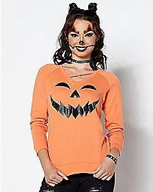 Criss Cross Front Pumpkin Sweatshirt