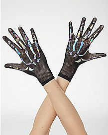 Holographic Skeleton Fishnet Gloves