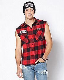 Adult Redneck Wood Chip Flannel Shirt
