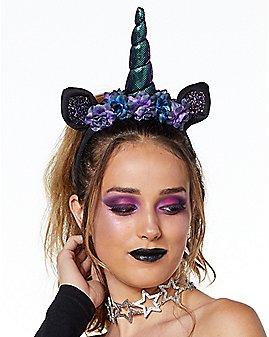 Dark Unicorn Flower Headband
