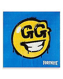 Battle Bus GG Smiley Face Beverage Napkins 16 Pack - Fortnite