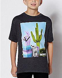 Kids Cactus Loot Llama T Shirt - Fortnite