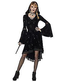 Celestial Coven Hooded Velvet Dress