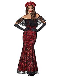 Adult La Catrina Day of the Dead Trumpet Dress Costume