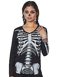 Sparkle Long Sleeve Skeleton T Shirt