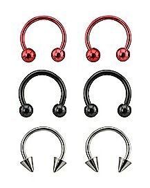 Black, Red & Steel Horseshoe 3 Pair - 16 Gauge