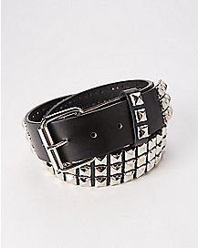 3 Row Pyramid Stud Belt Black/Silver