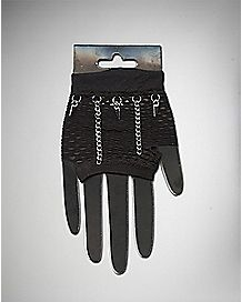 Mesh Fingerless Gloves with Chains and Spikes
