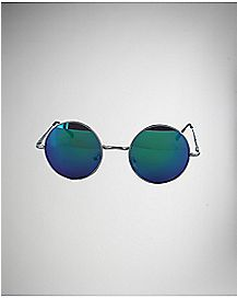 Round Mirror Sunglasses Blue