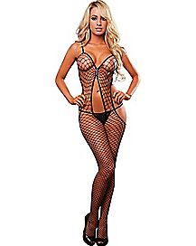Open Back Fishnet Bodystocking - Hustler