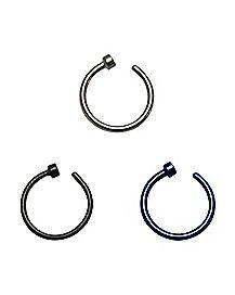 Black & Blue Hoop Nose Ring 3 Pack - 18 Gauge
