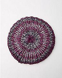Purple Knit Beanie Hat