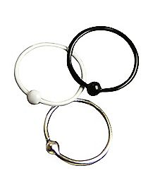 White and Black Hoop Nose Ring 3 Pack