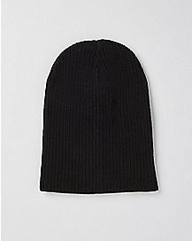 Black & Grey Stripe Slouchy Beanie Hat