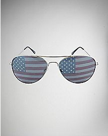 American Flag Aviator Sunglasses- Silver