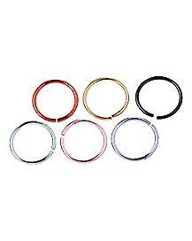 Colored Hoop Nose Ring 6 Pack - 20 Gauge
