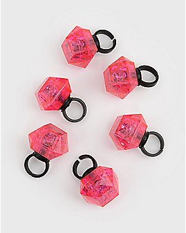 Flashing Bling Rings 6 Pack
