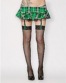 St. Patrick's Day Green Plaid Skirt with Garters