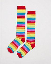 Allover Stripe Knee High Socks Rainbow
