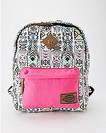 Tribal Canvas Backpack Pink