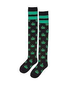 Athletic Stripe Pot Leaf Print Over the Knee Socks