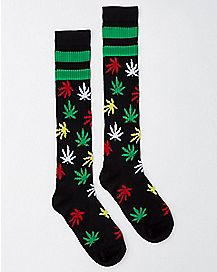 Black with Rasta Allover Weed Leaf Print Knee High Socks
